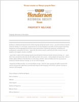Henderson Historical Society Property Release